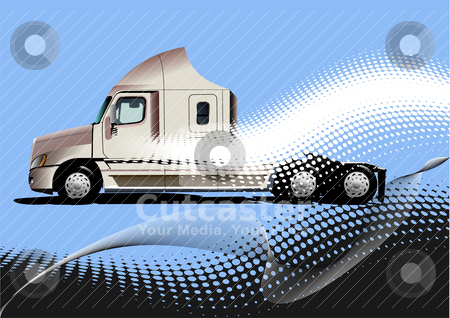 Blue abstract background with truck image. Vector illustration stock vector clipart, Blue abstract background with truck image. Vector illustration by Leonid Dorfman