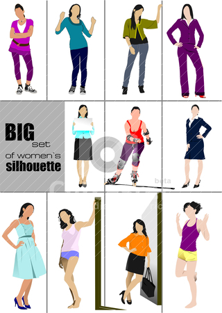Big set of women&amp;rsquo;s` silhouette. Vector illustration stock vector clipart, Big set of women&rsquo;s` silhouette. Vector illustration by Leonid Dorfman