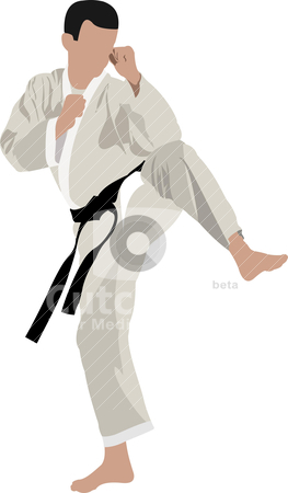 Karate silhouettes stock vector clipart, Karate silhouettes by Leonid Dorfman