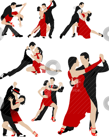 Big set of Couples dancing a tango. Vector illustration ...
