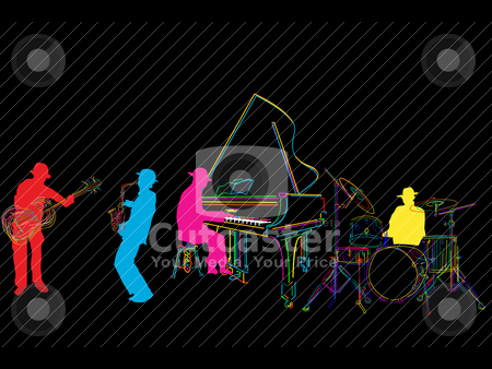 Stylized jazz band stock vector clipart, Jazz band sketch, isolated and grouped over black by Richard Laschon