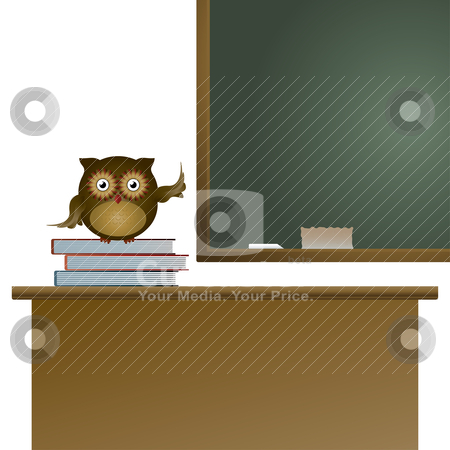 Owl in the classroom stock vector clipart, Owl in the classroom sitting on the books and pointing on the blackboard, vector illustration by Milsi Art