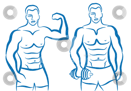 Sporty man, vector stock vector clipart, man with sporty body, vector illustration by Beata Kraus