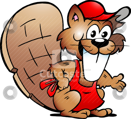 Hand-drawn Vector illustration of an Beaver Serving Guests  stock vector clipart, Hand-drawn Vector illustration of an Beaver Serving Guests  by DrawShop - Poul Carlsen