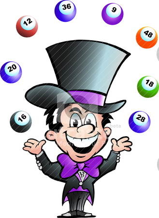 Hand-drawn Vector illustration of an Juggling Bingo Man stock vector clipart, Hand-drawn Vector illustration of an Juggling Bingo Man by DrawShop - Poul Carlsen