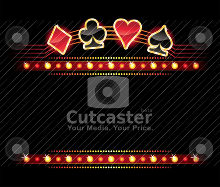 Neon with Card symbols stock vector clipart, Gold card symbols over place for your text by oxygen64