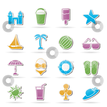 Beach, sea and holiday icons  stock vector clipart, Beach, sea and holiday icons - vector icon set by Stoyan Haytov