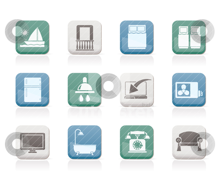 Hotel and motel room facilities icons stock vector clipart, Hotel and motel room facilities icons - vector icon set by Stoyan Haytov