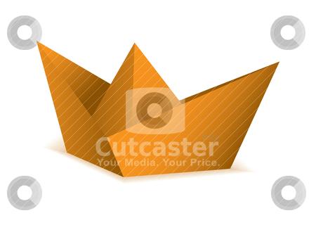 Oragami orange paper boat stock vector clipart, Orange symbolic paper origami boat concept by Michael Travers