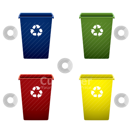 Plastic recycle trash can stock vector clipart, Collection of colourful recycle trash or rubbish bins by Michael Travers