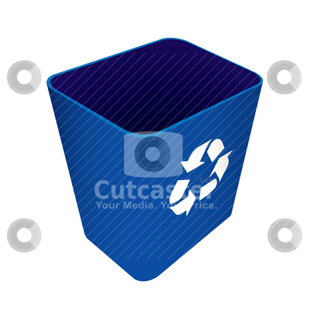 Recycle waste blue can stock vector clipart, Blue plastic recycle waste can or bin by Michael Travers