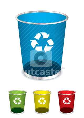 Trash recycle bin stock vector clipart, Bright glass recycle trash can icons or symbols by Michael Travers