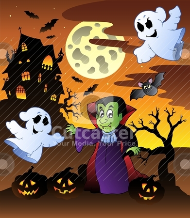 Scene with Halloween mansion 4 stock vector clipart, Scene with Halloween mansion 4 - vector illustration. by Klara Viskova