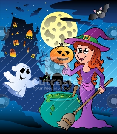 Scene with Halloween mansion 8 stock vector clipart, Scene with Halloween mansion 8 - vector illustration. by Klara Viskova