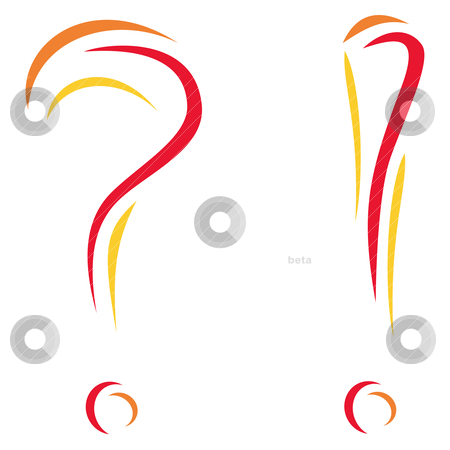 Question and interjection  stock vector clipart, Colorfull symbols of question and interjection isolated on white  by oxygen64
