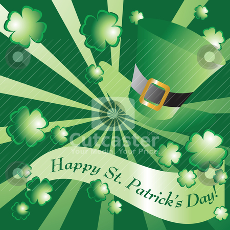 Happy St Patrick's Day stock vector clipart, St Patrick's Day design w/ banner and hat by HD Connelly