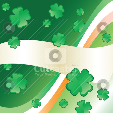 Irish Flag &amp; Clover stock vector clipart, Four-leafed Clovers, Irish flag and banner with copyspace by HD Connelly