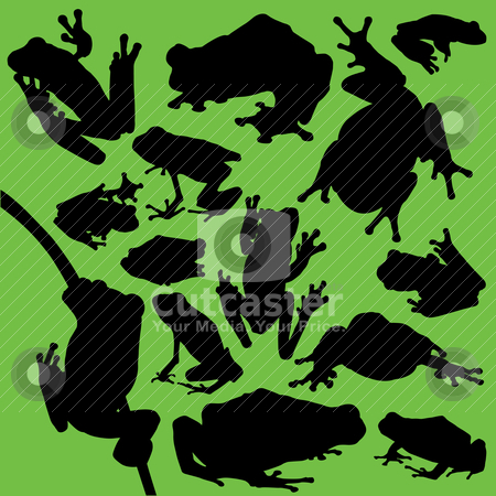 Frog silhouettes stock vector clipart, A collection of 14 different frog silhouettes. Red-eyed tree frogs, peacock frogs, poison dart frogs, and Wallace flying frogs were all used in the silhouettes. by macropixel