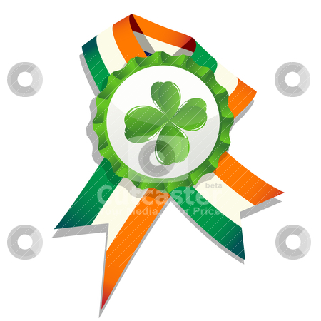 Beer cap with clover leaf and flag stock vector clipart, Beer cap with clover leaf and flag of Ireland. Decorative badge for Saint Patrick's Day. Isolated and grouped objects over white, no mesh or transparencies used. by Richard Laschon