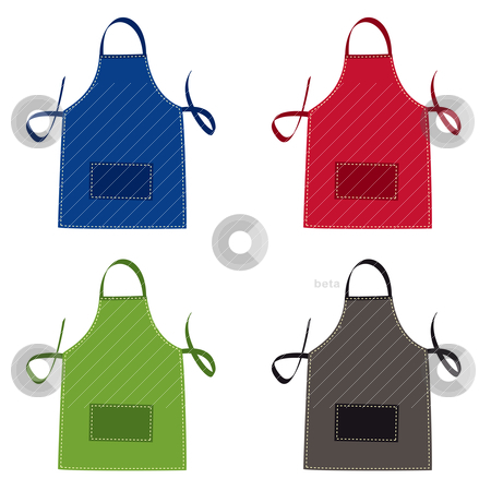 Apron collection stock vector clipart, Cooks apron collection in bright colours with pocket by Michael Travers