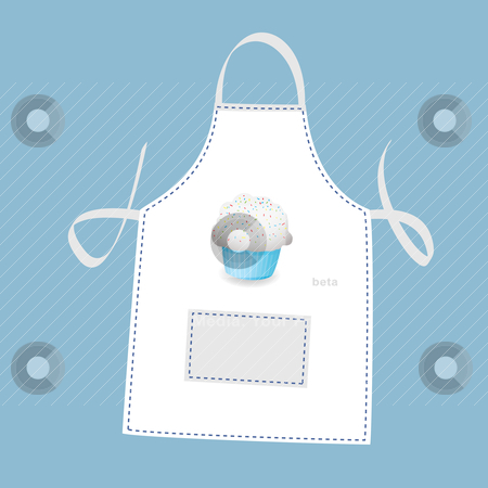 Cupcake apron stock vector clipart, Small cupcake apron concept with blue background by Michael Travers