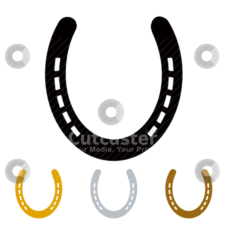 Lucky horseshoe stock vector clipart, silhouette lucky irish horseshoe in black gold and silver by Michael Travers