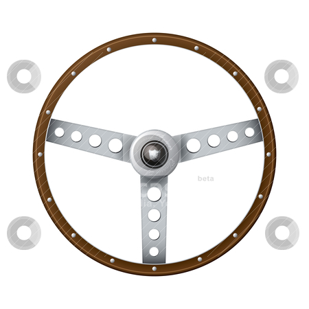 Old fashioned steering wheel stock vector clipart, Wooden rim steering wheel with classic metal arms and rivets by Michael Travers