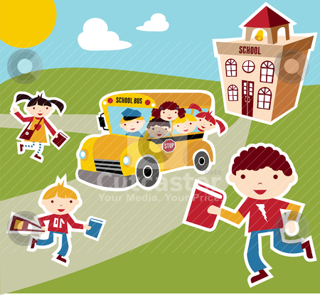 Back to School concept background stock vector clipart, Back to school concept illustration background. Bus, children and school facade composition. by Cienpies Design
