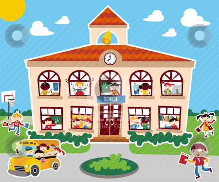 Back to School time stock vector clipart, Time to go back school vector illustration background. Bus, children and school facade composition. by Cienpies Design