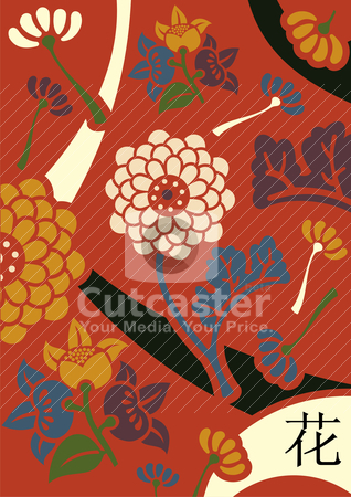 Orient flowers red background stock vector clipart, Orient flowers in retro colors palette over red background. by Cienpies Design