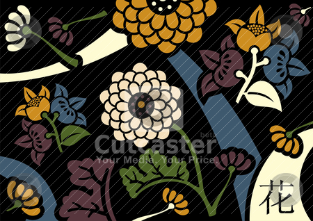 Orient flowers background stock vector clipart, Orient flowers background in retro colors palette. by Cienpies Design