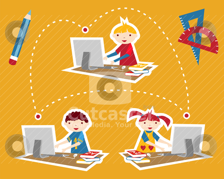 School social network communication stock vector clipart, Children learning and social school communication diagram. Internet as a learning tool. by Cienpies Design