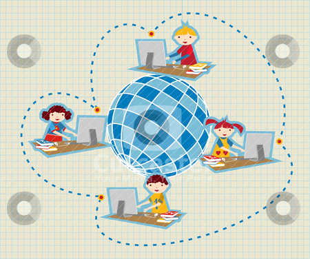 Global social school network communication stock vector clipart, Children uses school social network to learn and teach class lessons. by Cienpies Design