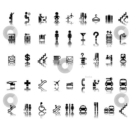 Airport pictograms set stock vector clipart, Airport pictogram set on stickers, isolated and grouped objects on white background by Richard Laschon