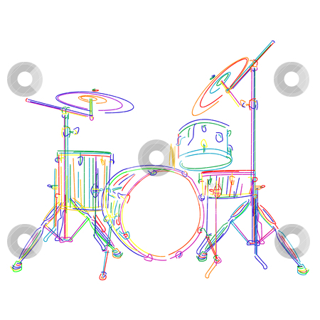Drums kit stock vector clipart, Graphic drums kit over white background by Richard Laschon