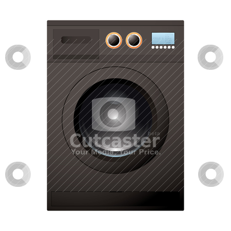 Black washing machine stock vector clipart, Modern black washing machine with bright LCD screen by Michael Travers