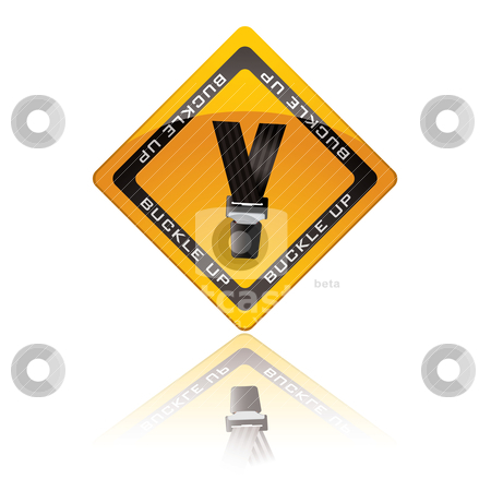 Seat belt warning sign stock vector clipart, Yellow warning sign with reflection for buckle up seat belt by Michael Travers