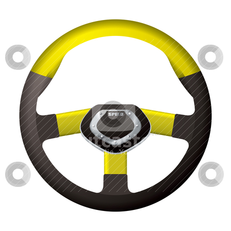 Sports steering gold wheel stock vector clipart, Modern sports steering wheel with gold detail trim by Michael Travers