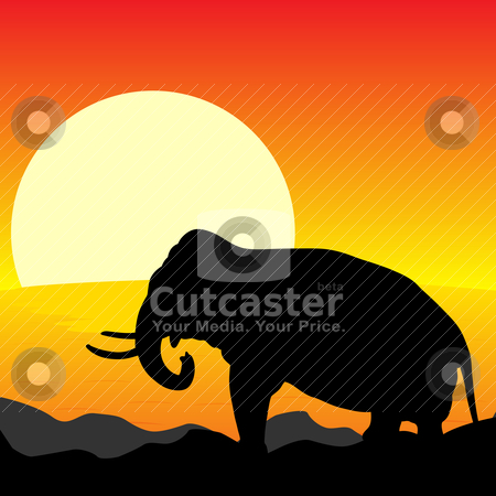 Africa Sunset stock vector clipart, Africa Sunset - Silhouette of Elephant Standing in the Sunset by JAMDesign