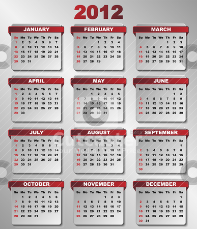 2012 Calendar stock vector clipart, 2012 Calendar in Dark Red and Grey Colors by JAMDesign