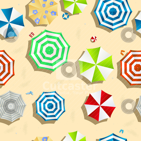 A day at the beach stock vector clipart, A beach background seamless pattern with color umbrellas, slippers and toys. by Richard Laschon