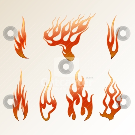 Flame stock vector clipart, Red flame on a light background vector by Mikhail Puhachou