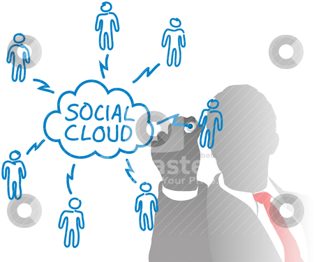 Person drawing social cloud media diagram stock vector clipart, Business person connects cloud computing and social media people in a network chart from behind frosted glass by Michael Brown