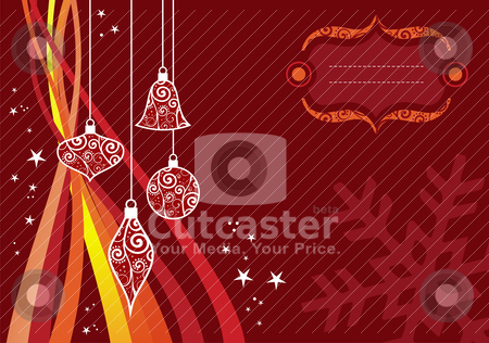 Christmas waves background stock vector clipart, Christmas season illustration with stars, balls and waves over red background. by Cienpies Design