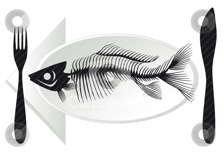 Fish bones on plate, vector stock vector clipart, overfishing, fish bones on plate, vector illustration by Beata Kraus