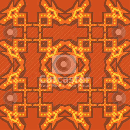 Seamless Geometric Pattern stock vector clipart, Seamless geometric wallpaper pattern in brown, red and yellow by Eric Basir