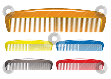 Comb stock vector clipart, Plastic colourful hair comb collection for hairdressers by Michael Travers
