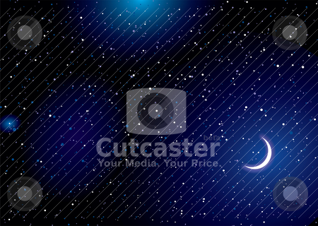 Space landscape moon stock vector clipart, Stella space landscape with distant stars and cresent moon by Michael Travers