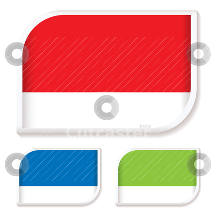 Tag icon rounded corner stock vector clipart, Collection of three rounded icon symbols for shop tags by Michael Travers