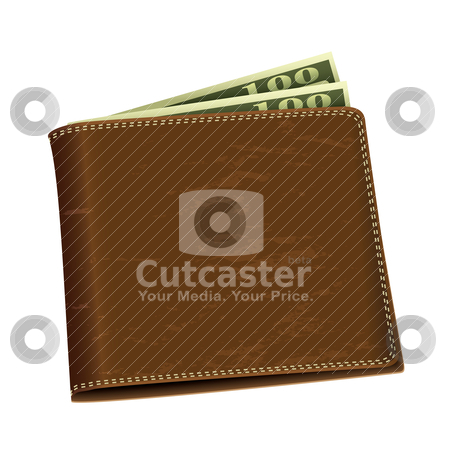Dollar money wallet stock vector clipart, Brown leather wallet with two hundred dollar bank notes by Michael Travers